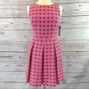 Tahari Arthur S Levine pink geometric fit flare